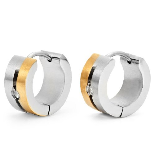 Stunning Cz Hoop Earrings for Men by RnBjewelry (Black, Silver, Gold)