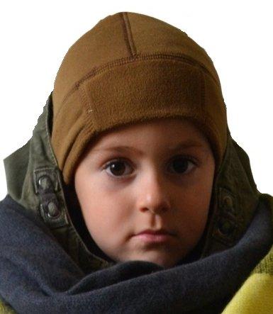 Kinder Skihelm Fahrrad Untermütze Fleece Mütze Winter Mütze (Coyote Braun)