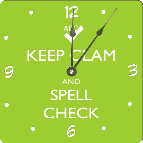 """Rikki Knighttm Keep Clam And Spell Check Lime Green Color Design 8"""" Art Wall Clock front-565083"""
