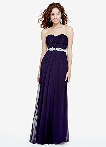 Strapless Prom Dress with Ruched Bust and Beading Style 8420DW3B, Eggplant, 5