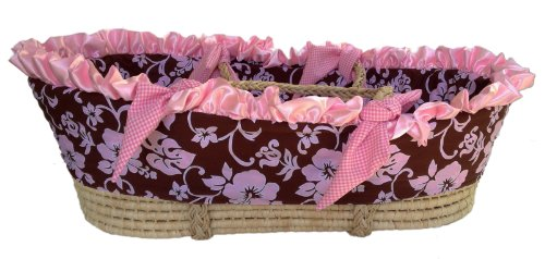 Patricia Ann Designs Satin Hibiscus Moses Basket With Check Trim, Pink/Chocolate front-309237