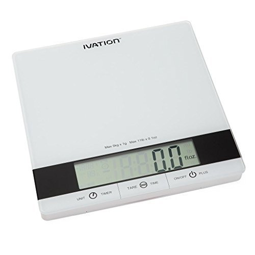Ivation Glass Top Digital Kitchen Scale w/Timer, Clock, Temperature & RH Levels - Provides Super Accurate Readings in Ounce, Fluid Ounce, Milliliter, Pound:Ounce & Gram Weight Units - Features 11-Pound Capacity & One-Button Tare Setting - White by Ivation