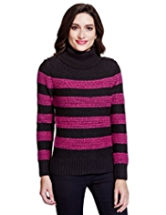 Per Una Block Striped Knitted Top with Mohair
