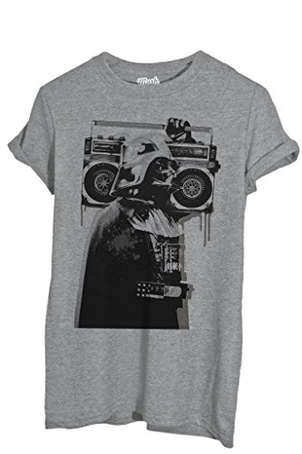 T-Shirt BANKSY DARTH VADER RADIO - FAMOSI by iMage Dress Your Style - Uomo-L-GRIGIO SPORT