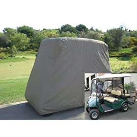 Deluxe 4 Passenger Golf Cart Cover fits E Z GO, Club Car and Yamaha G model - Taupe