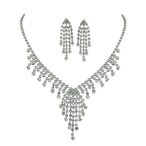 Brass Rhodium 15 inches + 3 Inches extensions Necklace Earrings Colorless Crystal Soft Links Spring Raindrop