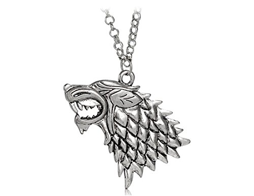 Antique Silver Necklacce Pendant Keychain for Thrones Game (Silver) by Preciastore