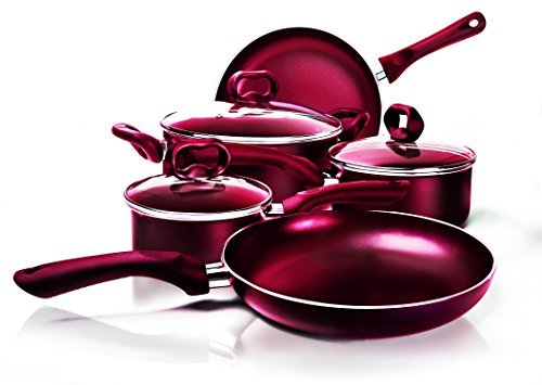 Ecolution 8-Piece Non-Stick Cookware Set, Features Silicone Handles & Tempered Glass, Steam Vented Lids, Red (Ecolution Pan Set compare prices)