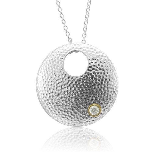 Sterling Silver Disc Solitaire Diamond Pendant Necklace (GH, SI3-I1, 0.15 carat)