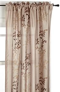 Regal Home Collections Oakbrook 54-Inch by 84-Inch Leaf Printed Faux Silk Panel, Brown