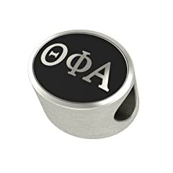 Theta Phi Alpha Black Antique Oval Sorority Bead Charm Fits Most Pandora Style Bracelets. High Quality Bead in Stock for Fast Shipping