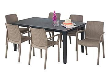 Salon de jardin: table graphite + 6 fauteuils taupe