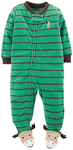Carter's Little Boys' Striped Art Footie (Toddler/Kid) - Moose - 3T