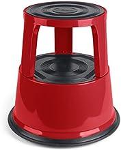 Pavo 8041985 - Taburete de metal con ruedas, rojo