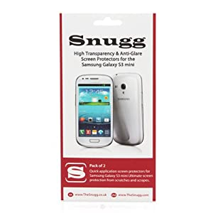 Snugg Galaxy S3 mini High Transparency Screen Protectors (pack of 2) - Includes Microfiber Cloth and Anti Bubble Leveler