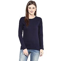 Hypernation Navy Blue Round Neck Cotton T-shirt For Women