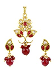 TheArtJewellery - Ruby Color Polki Pendant Set In Leaf Design