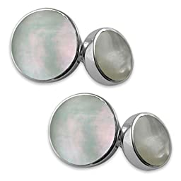 Sterling Silver Mother of Pearl Double-sided Cufflinks