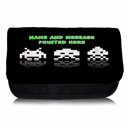 Personalised Space Invaders Pencil Case / Small Wash Bag. Add name and message of your choice