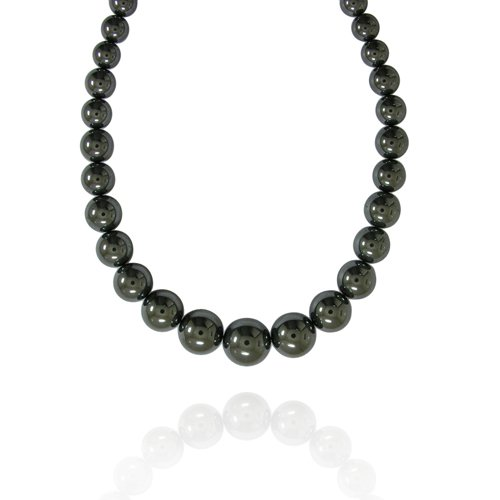 6-16mm Round Hematine Graduated Bead Necklace, 16+2