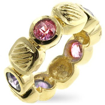 14k Gold Bonded Eternity Fashion Ring with Alternating Asscher Cut Lavender and Round Cut Pink Ice CZ in a Bezel Setting in Goldtone