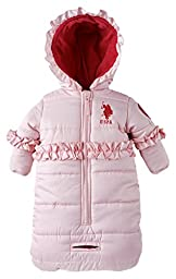 US Polo Assn. Baby Girls Hooded Fleece Lined Bubble Puffer Snowsuit Pram Bunting