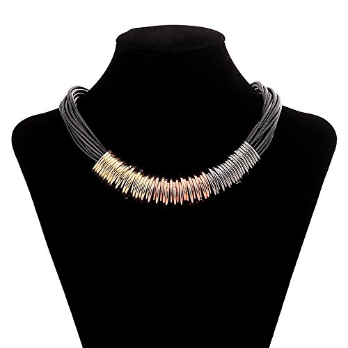 KOREA-JIAEN Choker Necklace Collar Necklace Multi Color Metal Circles Necklace Sets for Women (Metal Circles) (Work Sharp Heat Sink compare prices)