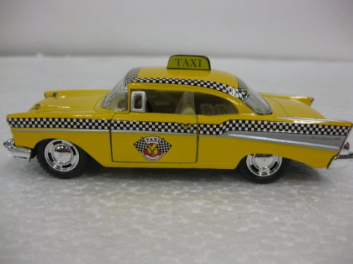 Diecast 1957 Chevrolet Bel-Air Taxi 1:40 Scale with Opening Doors And Pull Back Action Manufactured By Kinsmart