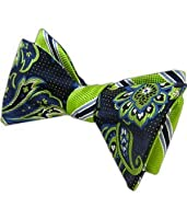100% Woven Silk Navy and Apple Bella Pin Patterned Reversible Self-Tie Bow Tie