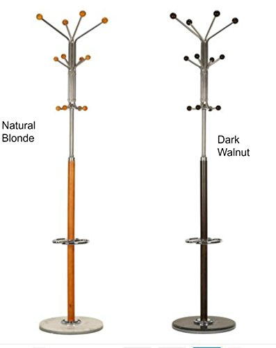 "Light Oak or Dark Walnut Modern Coat Rack. Sturdy, Functional Color Complimenting Marble Pedestal Base. Able to Hold Multiple Clothing, Hats, Umbrellas and Bags. 2 Umbrella Holder Stands, 22"" H. 4 Lower Hooks 42"" H, Perfect for Kids / Children. 10 Upper Pegs and Hangers, 68"" H (Dark Walnut Brown)"