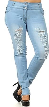 DJ1563P - Women's Plus Size, Butt Lift, (Levanta Cola) Ripped, Skinny Jeans in Light Blue Size 12