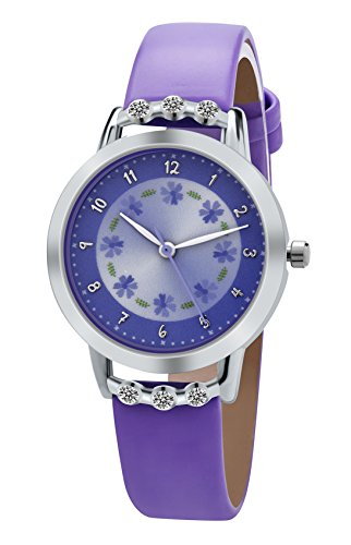 Dovoda Watch for Girls Easy-reader Time Teacher Flowers Diamond Purple