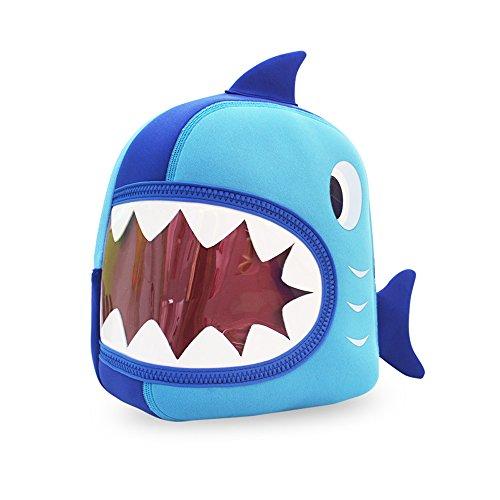 Nohoo Waterproof Kids Backpack 3D Shark Cartoon School Hiking Sidesick Bags