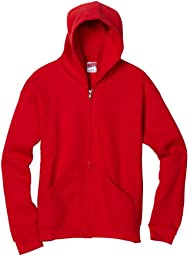MJ Soffe Boys 8-20 Zip Hooded Sweatshirt, Red, Large