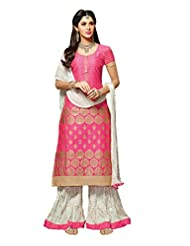 Mantra Fashion New Designer Printed Plazo Style Pink And White Salwar Suit