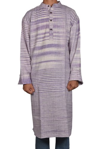 Designed Mens Casual Cotton Khadi Long Kurta Fabric For Winter & Summers Size 5XL