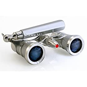 Milana Optics - Opera Glasses - Broadway - With Handle and Flashlight - Platinum Finish with Silver Rings