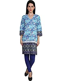 Anekaant Cotton And Cotton Lycra Blend Multicolor And Blue Kurti & Legging Set
