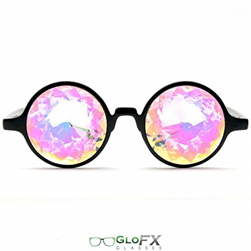 GloFX Black Kaleidoscope Glasses- Rainbow Rave Prism Diffraction
