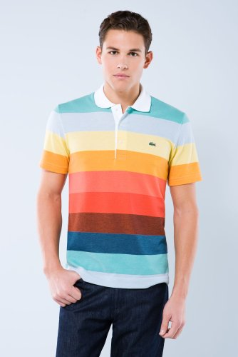 Short Sleeve Rainbow Multi-color Pique Polo