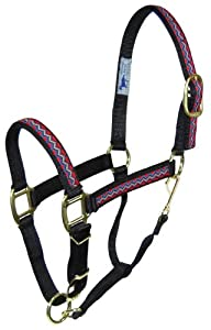 Hamilton 8-11 1 Nylon Quality Adjustable Horse Halter with Snap, Average, Black Weave Overlay for Horses 800 to 1100 lbs.