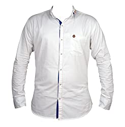 Zedx casual long sleeve Solid/plain single cuff White shirt for Men's