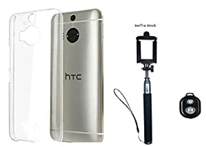 D'clair Premium Transparent Case Cover and Selfie Stick with Bluetooth for HTC One M9 Plus