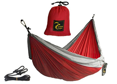 Golden Eagle Portable Camping Parachute Silk Double Hammock. Premium Quality. (red / silver) (Folding Chair Replacement Parts compare prices)