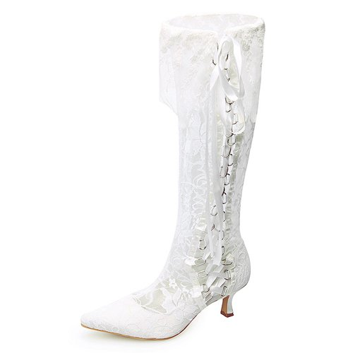 Women's Top Quality Satin Upper High Heel Pumps Closed-toes Wedding Bridal Boots / Wedding Bridal Shoes (Size: 8.5 B(M) US/White)