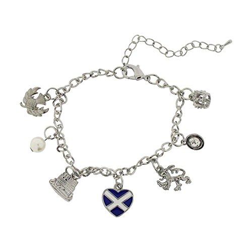 """TOC da donna, motivo """"Silvertone"""" Scotland-Bracciale con ciondoli 20,32 cm (8"""") (2 5,08 cm di estensione con custodia"""