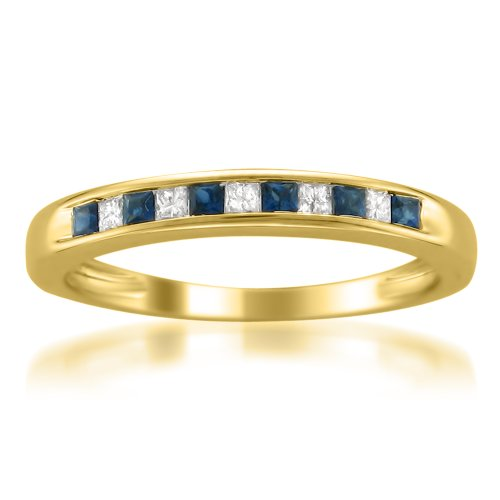 Price Comparisons 14k Yellow Gold Princess-cut Diamond and Blue Sapphire Wedding Band Ring (1/3 cttw, H-I, I1-I2)
