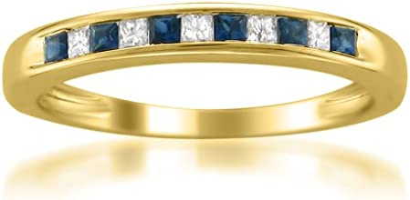 14k Yellow Gold Princess-cut Diamond and Blue Sapphire Wedding Band Ring 13 cttw H-I I1-I2