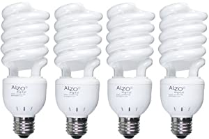 Full Spectrum Light Bulb ALZO 27W Compact Fluorescent CFL - Pack of 4 - 5500K Daylight - 120V - Joyous Light Pure White Light