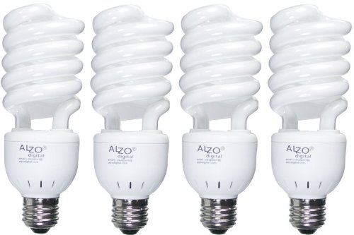 Full Spectrum Light Bulb - ALZO 27W Compact Fluorescent - Case of 4 - Daylight Balanced 5500K - Pure White Light - the Joyous Light